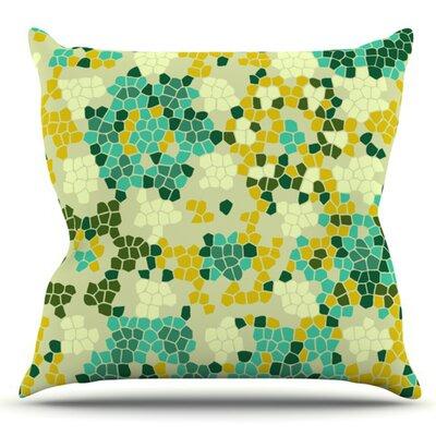 Flower Garden Mosaic by Laura Nicholson Outdoor Throw Pillow
