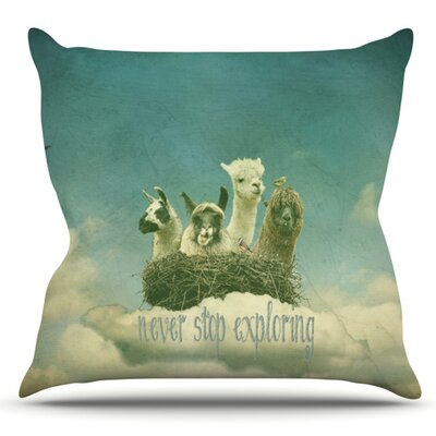 Never Stop Exploring by Monika Strigel Outdoor Throw Pillow