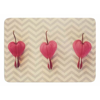 Heart With Chevrons by Robin Dickinson Bath Mat