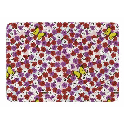 Cherry Blossom And Butterfly by Setsu Egawa Bath Mat