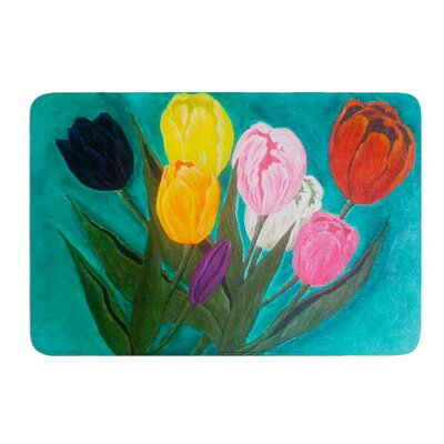 Tulips by Christen Treat Bath Mat Size: 24 W x 36 L