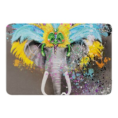 My Elephant with Headdress by Geordanna Cordero-Fields Bath Mat Size: 17W x 24L