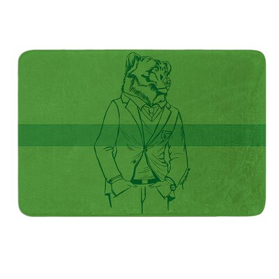 Dapper Bear Green by Geordanna Cordero-Fields Bath Mat Size: 17W x 24L