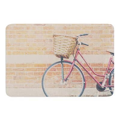 A Red Bicycle by Laura Evans Bath Mat