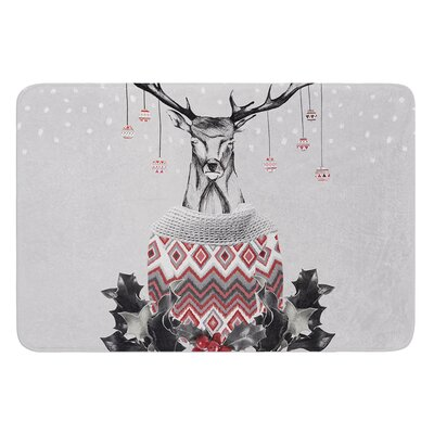 Christmas Deer Snow by Nika Martinez Bath Mat
