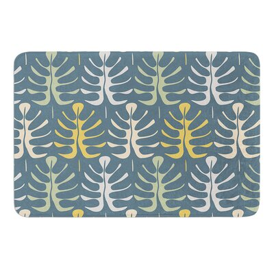 My Leaves on Blue by Julia Grifol Bath Mat Size: 24 W x 36 L