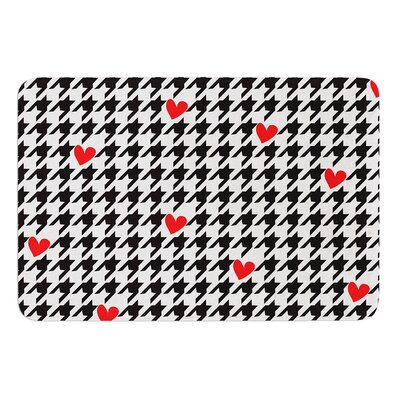 Spacey Houndstooth Heart by Empire Ruhl Bath Mat Size: 24 W x 36 L