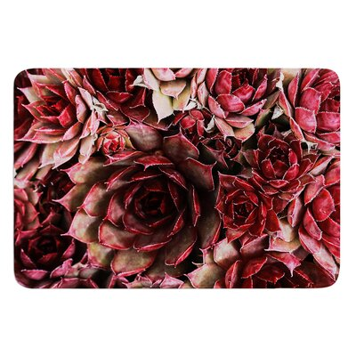 Red Succulents by Debbra Obertanec Bath Mat Size: 17W x 24L