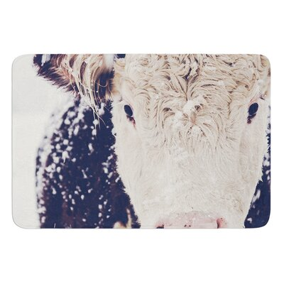 Snowy Cow by Debbra Obertanec Bath Mat Size: 17W x 24L