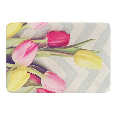 Tulips and Chevrons by Catherine McDonald Bath Mat Size: 24 W x 36 L