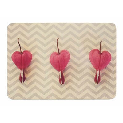 Heart with Chevrons by Robin Dickinson Memory Foam Bath Mat