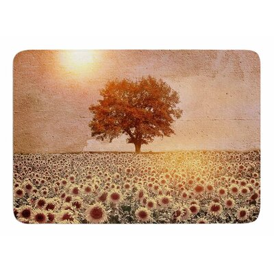Lone Tree and Sunflowers Field by Vivian Gonzalez Memory Foam Bath Mat