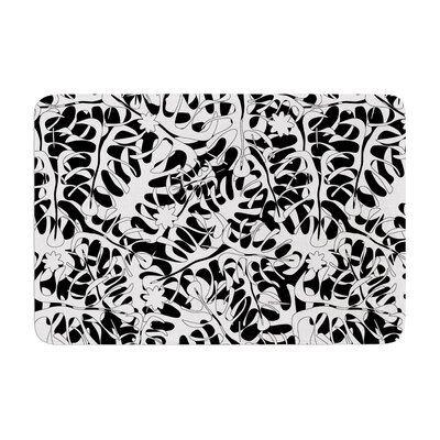 White Leaves by Julia Grifol Memory Foam Bath Mat Size: 24 W x 36 L