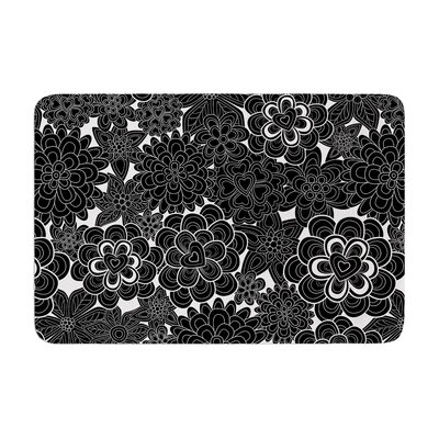 Flowers in White and Black by Julia Grifol Memory Foam Bath Mat Size: 24 W x 36 L
