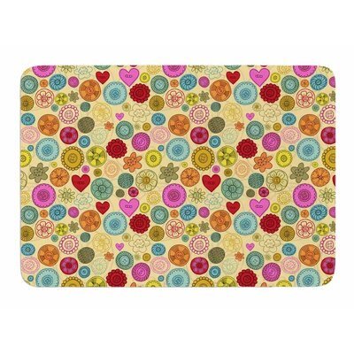 Vintage Buttons by Jane Smith Memory Foam Bath Mat