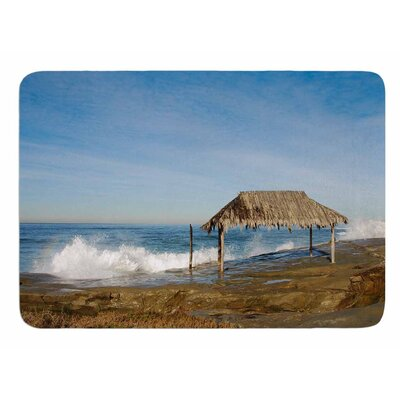 Crashing Waves Near Hut by Nick Nareshni Memory Foam Bath Mat