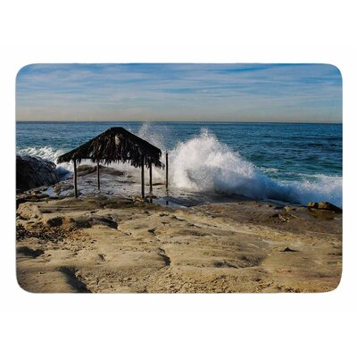 Straw Hut on Beach by Nick Nareshni Memory Foam Bath Mat