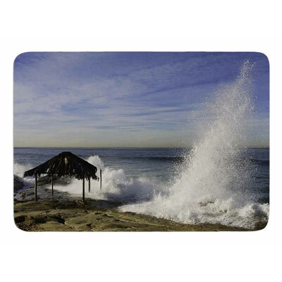 Hut with Crashing Waves by Nick Nareshni Memory Foam Bath Mat