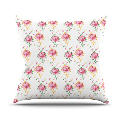 Cross Stitch Flowers Outdoor Throw Pillow