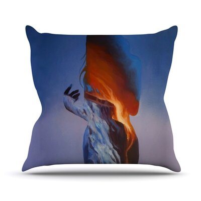 Volcano Girl Outdoor Throw Pillow