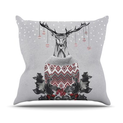 Christmas Deer Snow Outdoor Throw Pillow