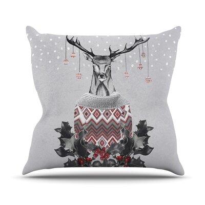 Christmas Deer Snow Outdoor Throw Pillow