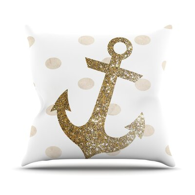Glitter Anchor Outdoor Throw Pillow