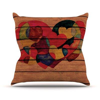 Wooden Heart Outdoor Throw Pillow