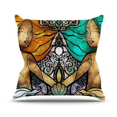 Mermaid Twins Outdoor Throw Pillow