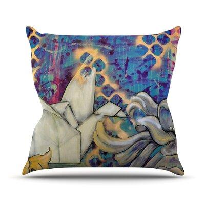Peonies and Crane Outdoor Throw Pillow