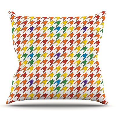 Rainbow Houndstooth by Empire Ruhl Outdoor Throw Pillow