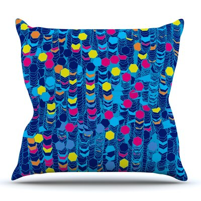 Color Hiving Blue by Frederic Levy-Hadida Outdoor Throw Pillow
