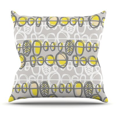 Benin Yellow Grey by Gill Eggleston Outdoor Throw Pillow
