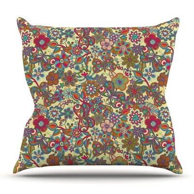 My Butterflies and Flowers in Yellow by Julia Grifol Outdoor Throw Pillow