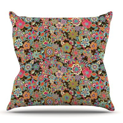 My Butterflies and Flowers in Brown by Julia Grifol Outdoor Throw Pillow