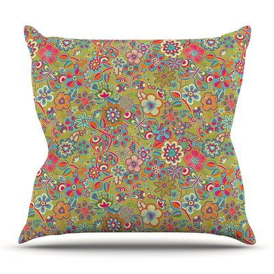 My Butterflies and Flowers in Green by Julia Grifol Outdoor Throw Pillow