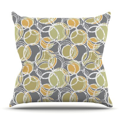 Simple Circles in Gray by Julia Grifol Outdoor Throw Pillow