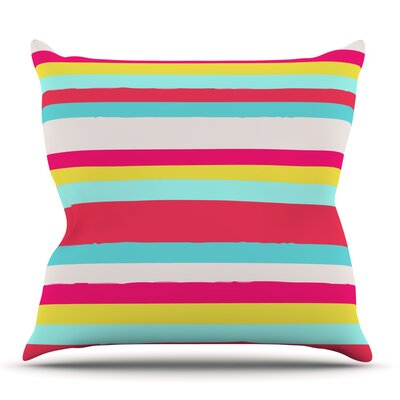Girly Surf Stripes by Nika Martinez Outdoor Throw Pillow