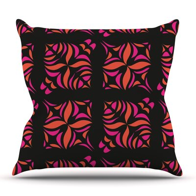 Orange on Black Tile by Miranda Mol Outdoor Throw Pillow