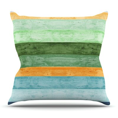 Beach Wood Blue by Monika Strigel Outdoor Throw Pillow
