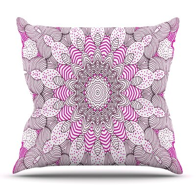 Dots and Stripes Pink by Monika Strigel Outdoor Throw Pillow