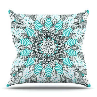 Dots and Stripes Mint by Monika Strigel Outdoor Throw Pillow