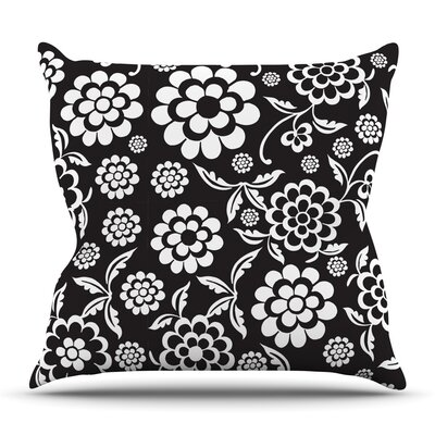 Cherry Floral Black by Nicole Ketchum Outdoor Throw Pillow