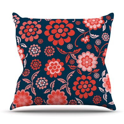 Cherry Floral Midnight by Nicole Ketchum Outdoor Throw Pillow