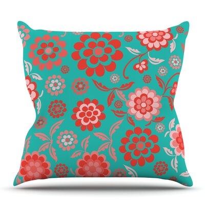 Cherry Floral Sea by Nicole Ketchum Outdoor Throw Pillow