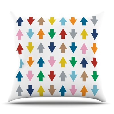 Arrows Up and Down White by Project M Outdoor Throw Pillow
