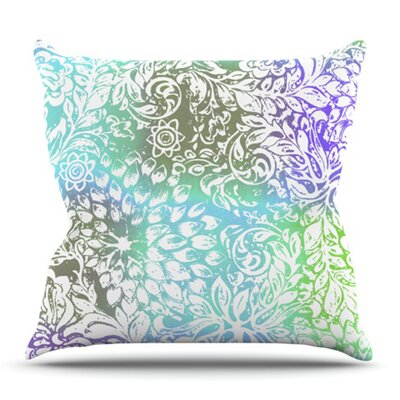 Blue Bloom Softly for You by Vikki Salmela Outdoor Throw Pillow