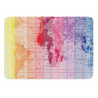 Rainbow World Map by Catherine Holcombe Memory Foam Bath Mat