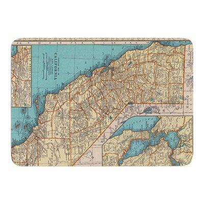 So Cal Surf Map by Catherine Holcombe Memory Foam Bath Mat