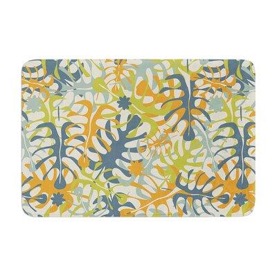 Summer Tropical Leaves by Julia Grifol Memory Foam Bath Mat Size: 24 W x 36 L